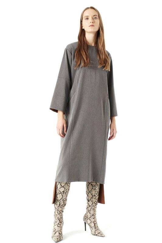 فستان بقطع تركيب ( رمادي )
