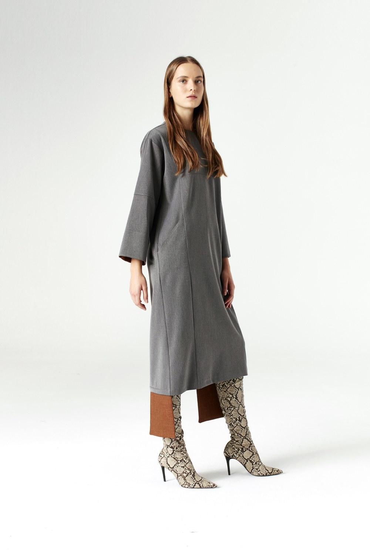 MIZALLE فستان بقطع تركيب ( رمادي ) (1)