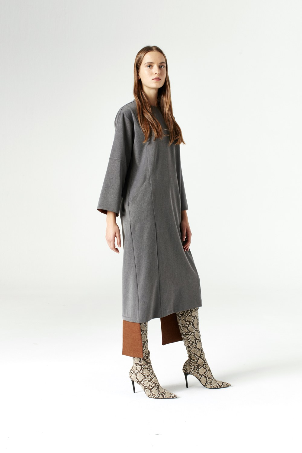 MIZALLE Dress With Added Parts (Grey) (1)