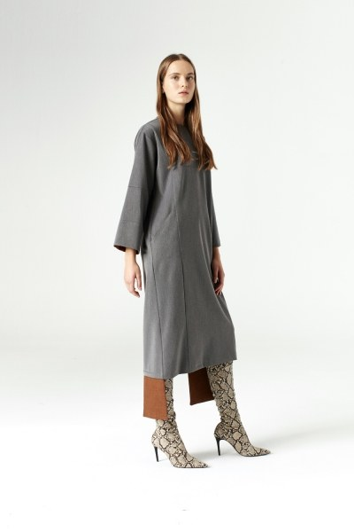 MIZALLE - Dress With Added Parts (Grey) (1)