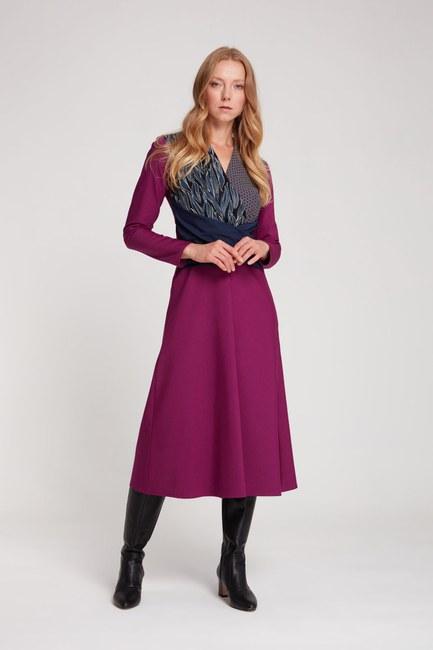 Mizalle - Parça Detaylı Elbise (Mor)