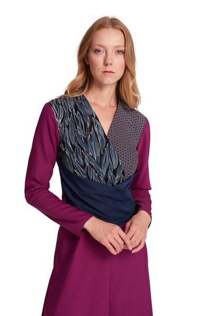 MIZALLE - Parça Detaylı Elbise (Mor) (1)