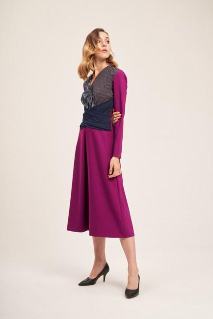 Parça Detaylı Elbise (Mor) - Thumbnail
