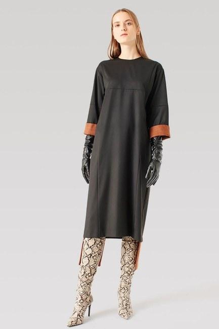 Mizalle - Parça Detaylı Elbise (Siyah)