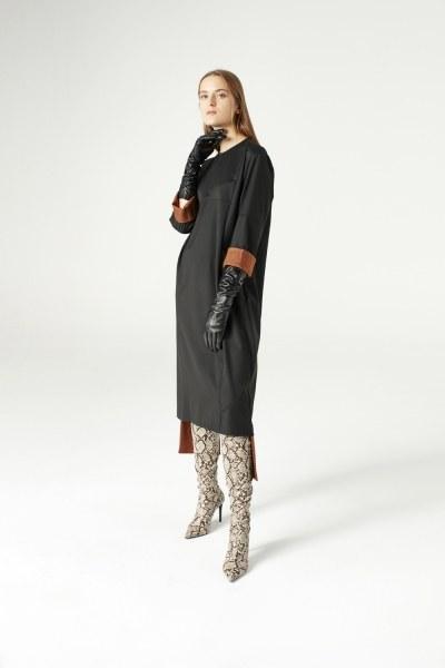 فستان بقطع تركيب ( أسود ) - Thumbnail
