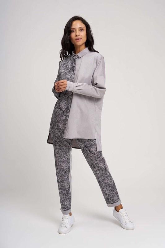 Parça Detaylı Tasarım Gömlek (Gri)