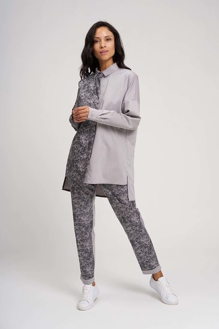 Parça Detaylı Tasarım Gömlek (Gri) - Thumbnail