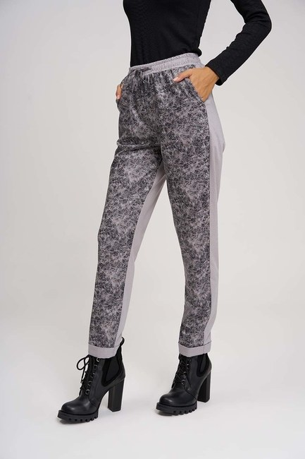 Parça Detaylı Tasarım Pantolon (Gri) - Thumbnail