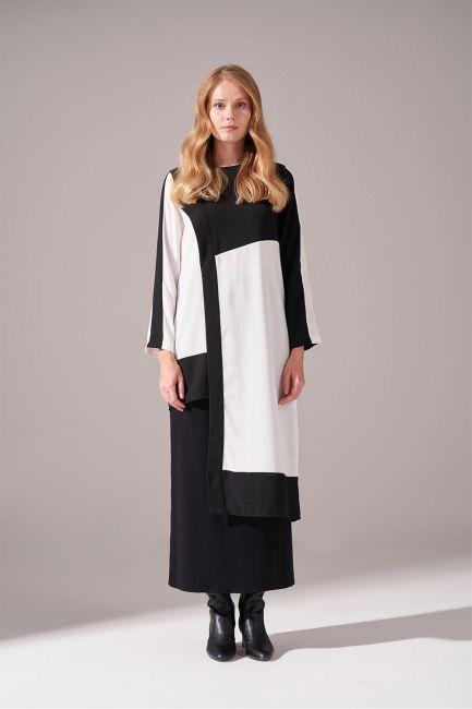 Mizalle - Parça Detaylı Siyah Tunik Elbise