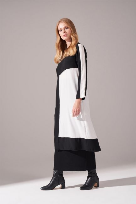 Parça Detaylı Siyah Tunik Elbise - Thumbnail