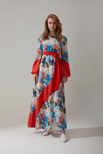 Mizalle - Çiçek Baskılı Uzun Elbise