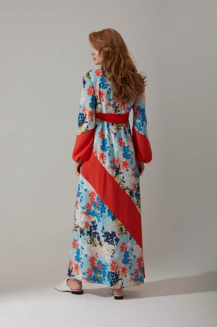 Çiçek Baskılı Uzun Elbise - Thumbnail