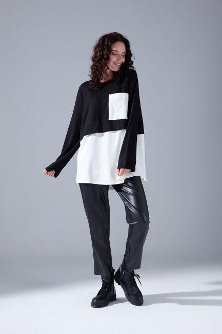 Mizalle - Parçalı Cepli Siyah Tunik