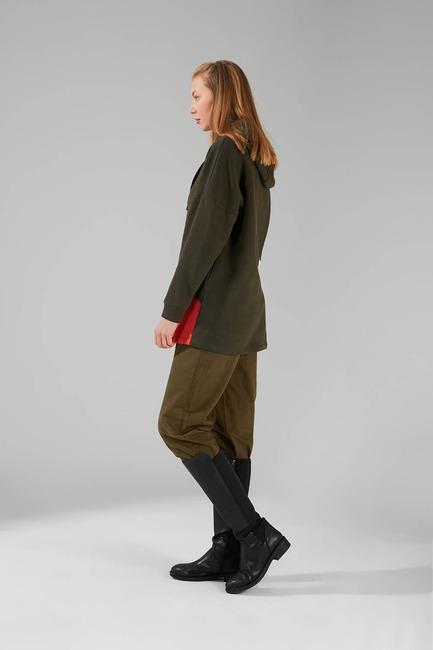 Parçalı Çok Renkli Sweatshirt (Haki) - Thumbnail