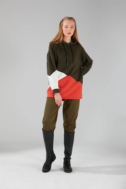 Parçalı Çok Renkli Haki Sweatshirt