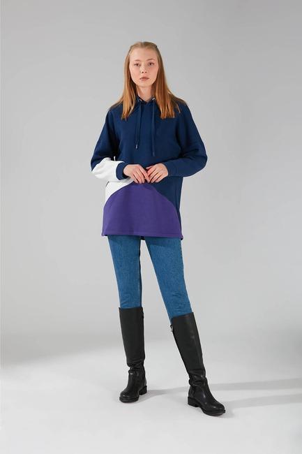 Mizalle - Parçalı Çok Renkli Sweatshirt (Lacivert)