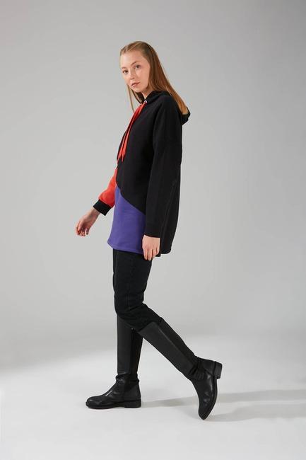 Parçalı Çok Renkli Siyah Sweatshirt - Thumbnail