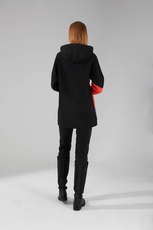 Parçalı Çok Renkli Siyah Sweatshirt