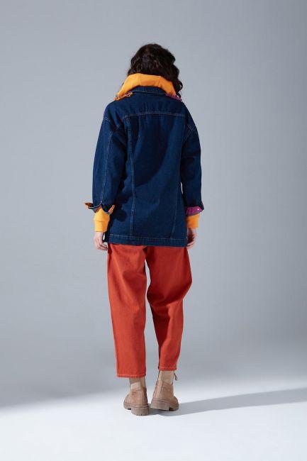 Parçalı Denim Ceket (İndigo) - Thumbnail