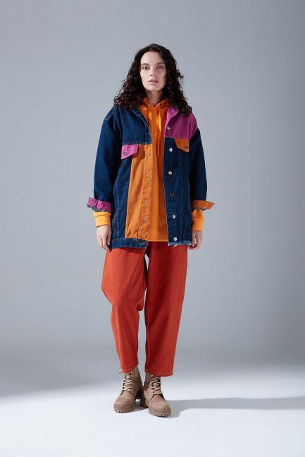 Parçalı Denim Ceket (İndigo)