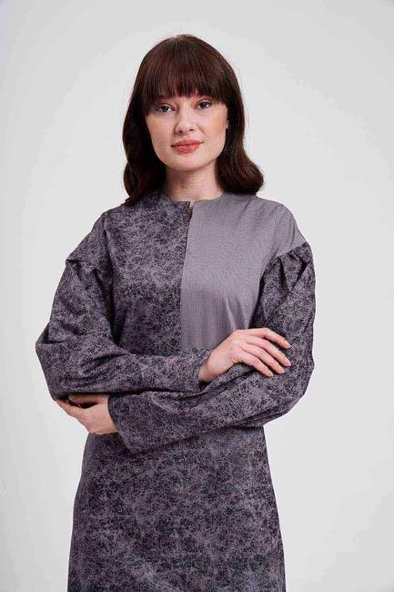 Mizalle - Parçalı Desenli Elbise (Gri) (1)