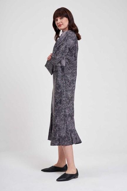 Parçalı Desenli Elbise (Gri) - Thumbnail
