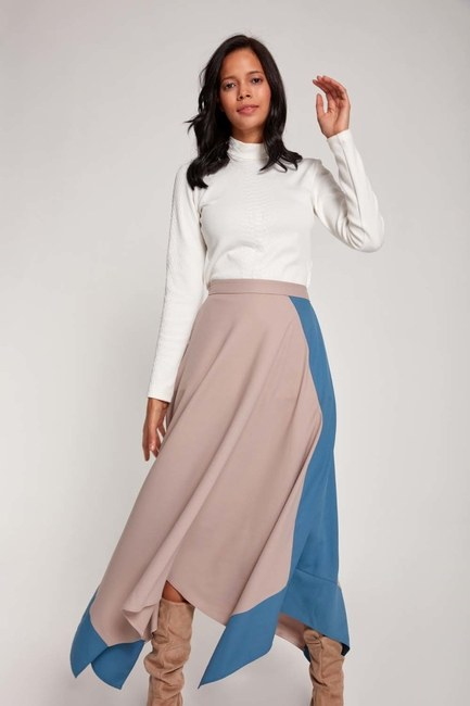 MIZALLE - Two Colored Crepe Skirt (Grey/Indigo) (1)