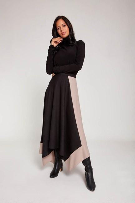 MIZALLE - تنورة كريب بلونين (أسود) (1)