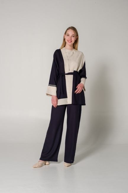 Mizalle - Parçalı Keten Bej Kimono