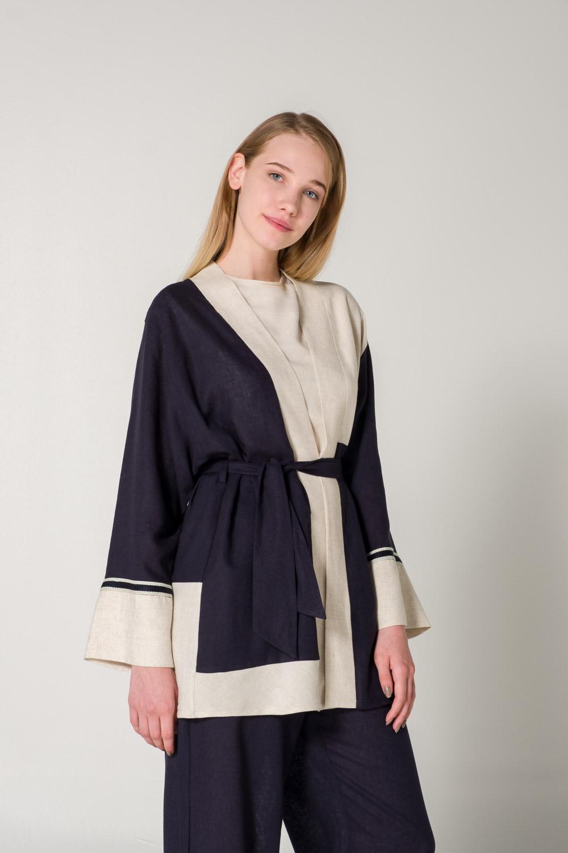 Parçalı Keten Bej Kimono