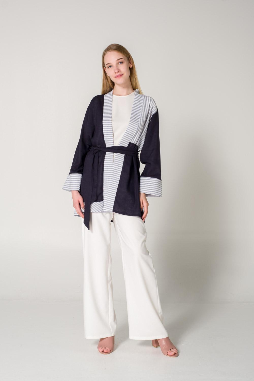 Parçalı Keten Lacivert Kimono