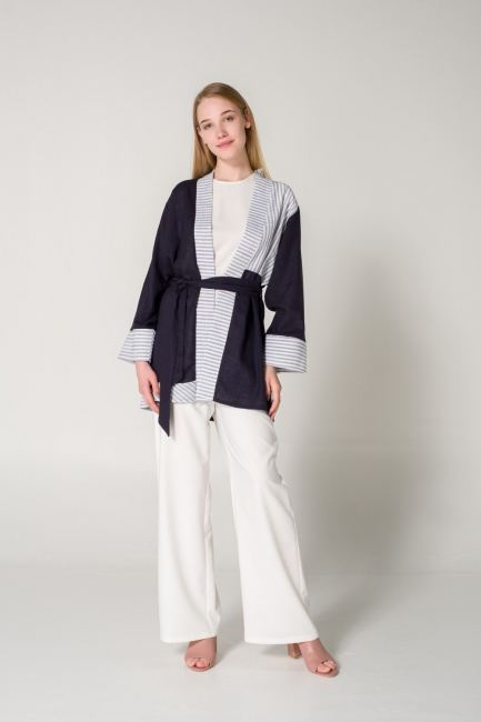 Mizalle - Parçalı Keten Lacivert Kimono
