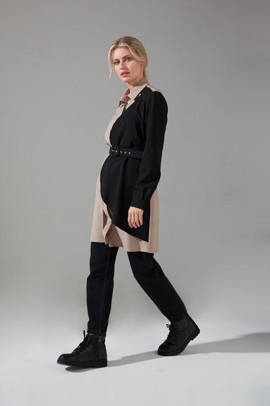 Parçalı Krep Tunik Gömlek (Bej)