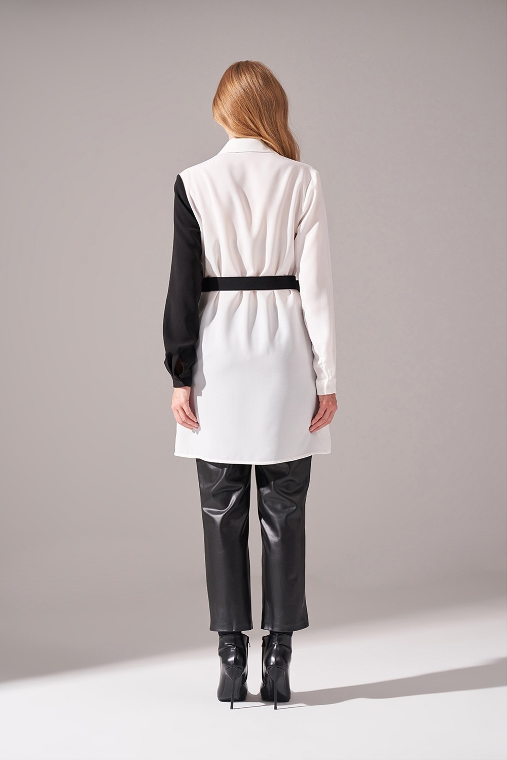 Parçalı Krep Beyaz Tunik Gömlek