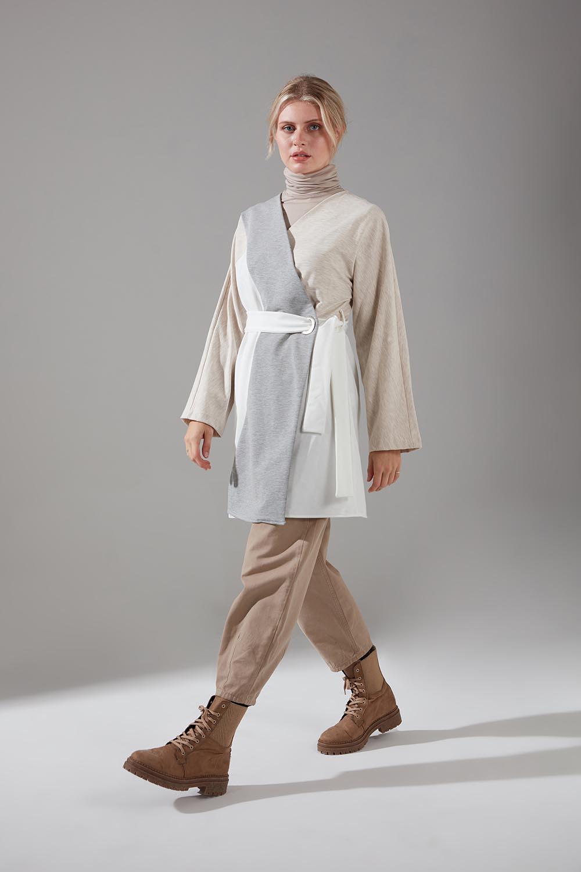 Parçalı Kuş Gözlü İki İplik Kimono (Ekru)