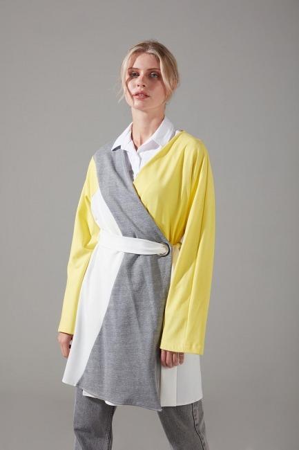 Parçalı Kuş Gözlü İki İplik Kimono (Sarı) - Thumbnail