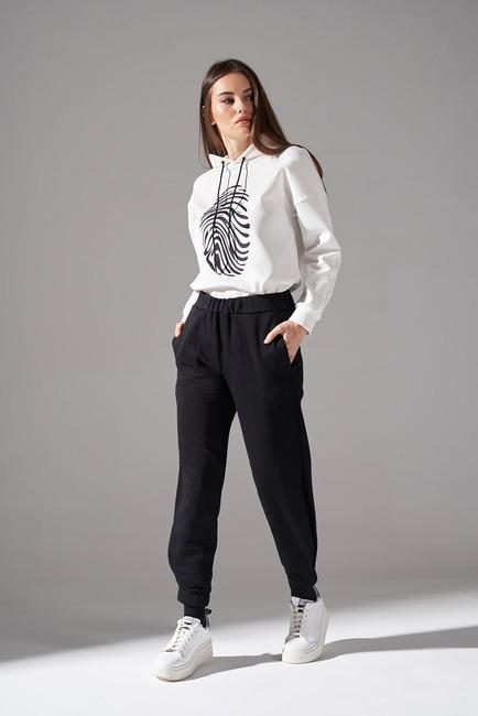 Mizalle - Parçalı Paça Dikişli Pantolon (Siyah)