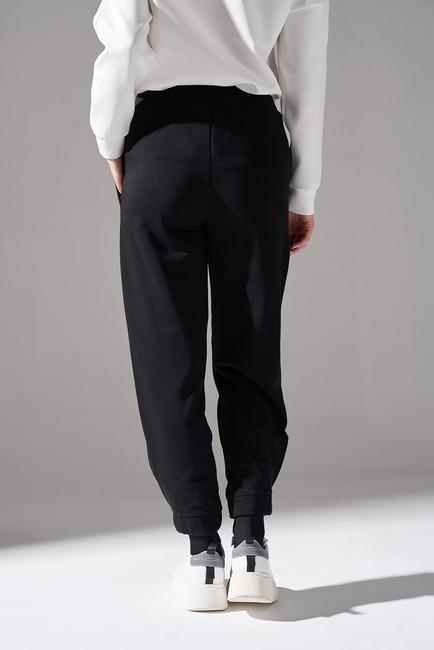 Parçalı Paça Dikişli Pantolon (Siyah) - Thumbnail