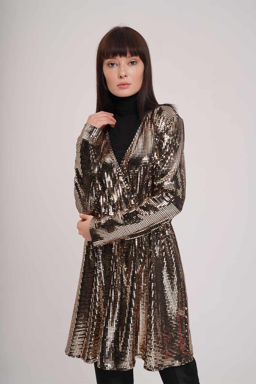 Parıltı Detaylı Gold Tunik