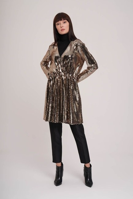 MIZALLE - Glitter Detailed Tunic (Gold) (1)