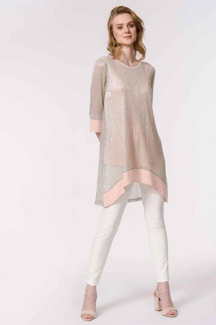MIZALLE - Shiny Luxury Tunic (Beige) (1)