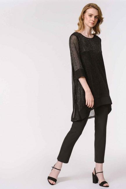 MIZALLE - Parlak Detaylı Lüks Tunik (Siyah) (1)