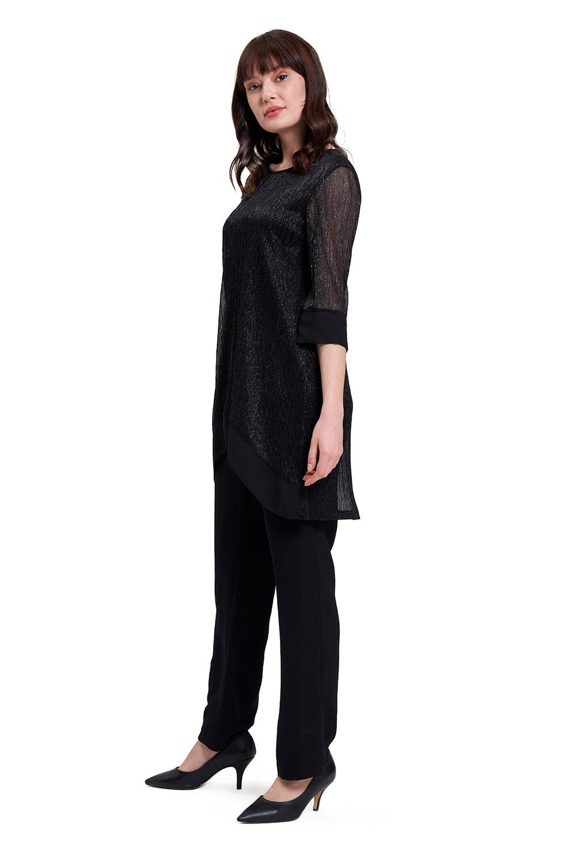 Parlak Detaylı Lüks Siyah Tunik