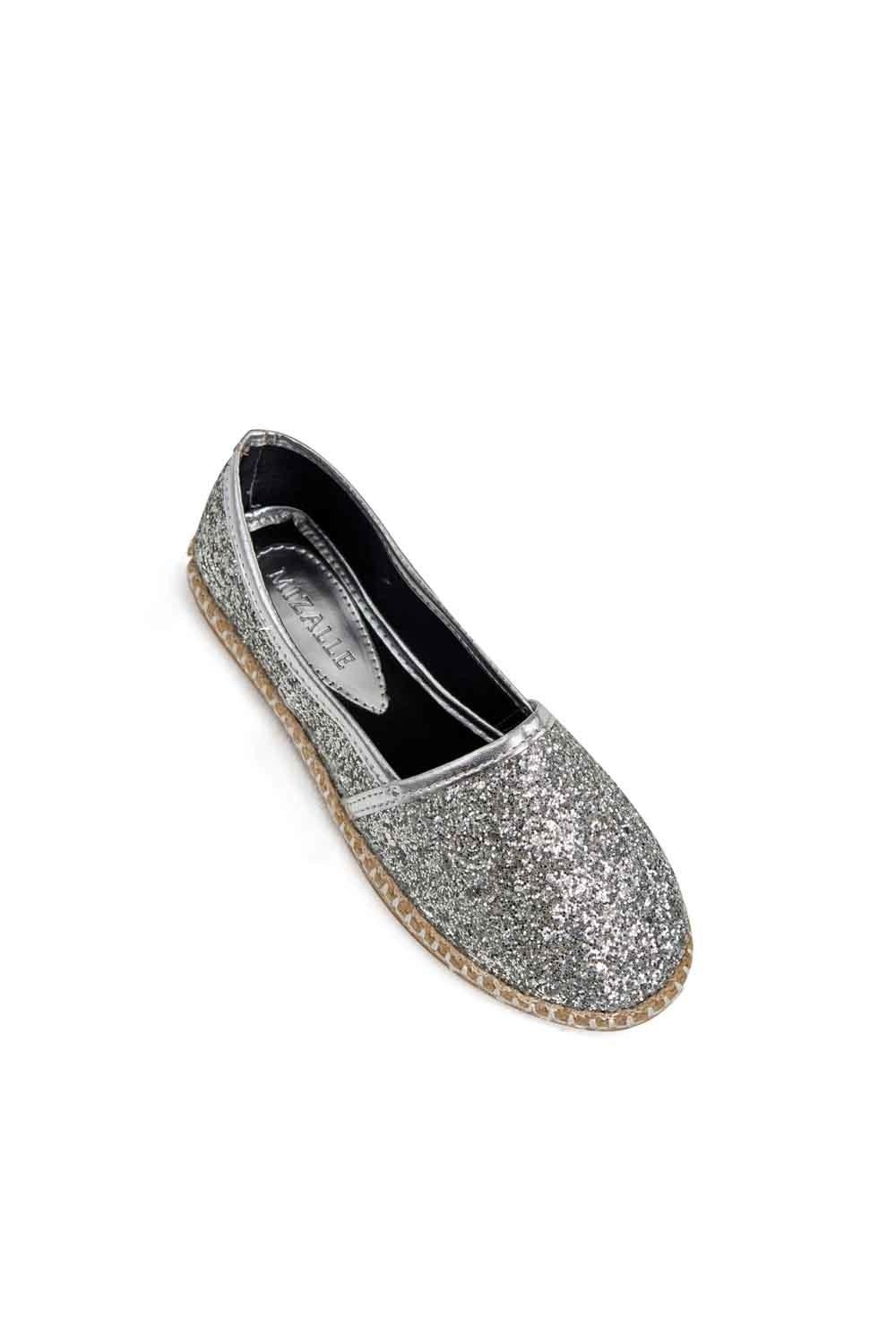 MIZALLE Bright Textured Espadrille (Silver) (1)