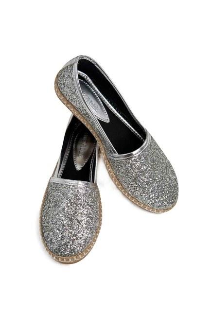 MIZALLE Bright Textured Espadrille (Silver)