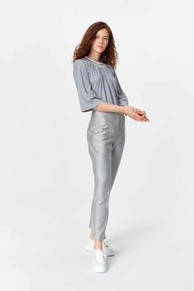 MIZALLE - Pants With Glossy Texture (Grey) (1)