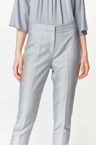 Pants With Glossy Texture (Grey) - Thumbnail