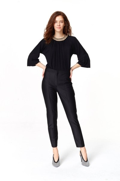 MIZALLE Pants With Glossy Texture (Black)
