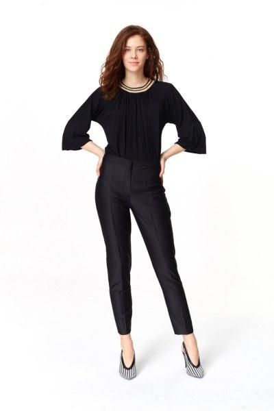 MIZALLE Parlak Dokulu Pantolon (Siyah)
