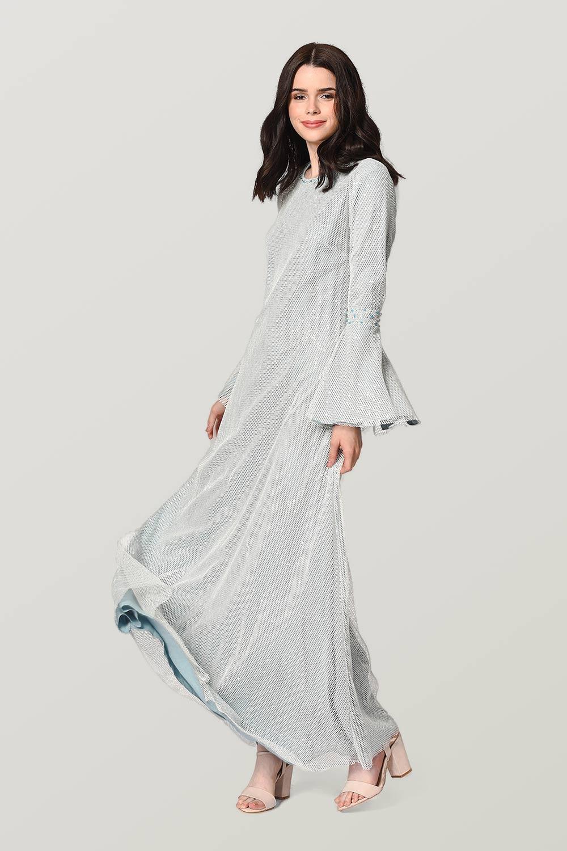 Parlak File Detaylı Mavi Abiye Elbise
